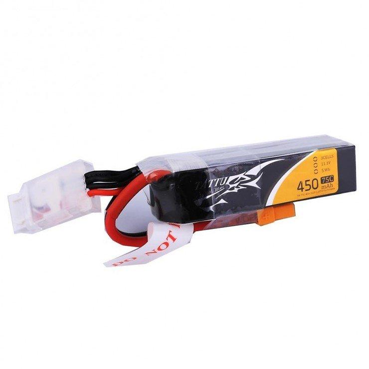 Tattu Batterie LiPo Akku 450mAh 3S1P long size 75C XT30 - Pic 1