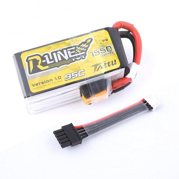 Tattu R-Line Batterie LiPo Akku 1550mAh 4s 95C mit abnehmbaren Balance Stecker - Pic 1