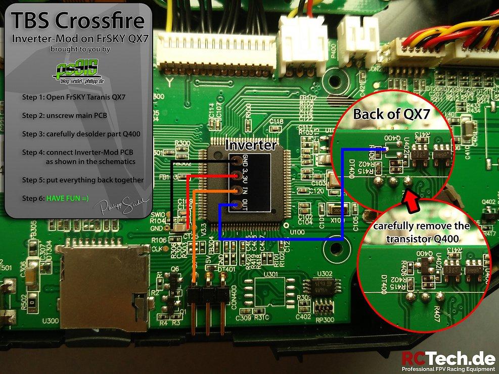 TBS PCB MOD für Taranis QX7 Crossfire - Pic 3