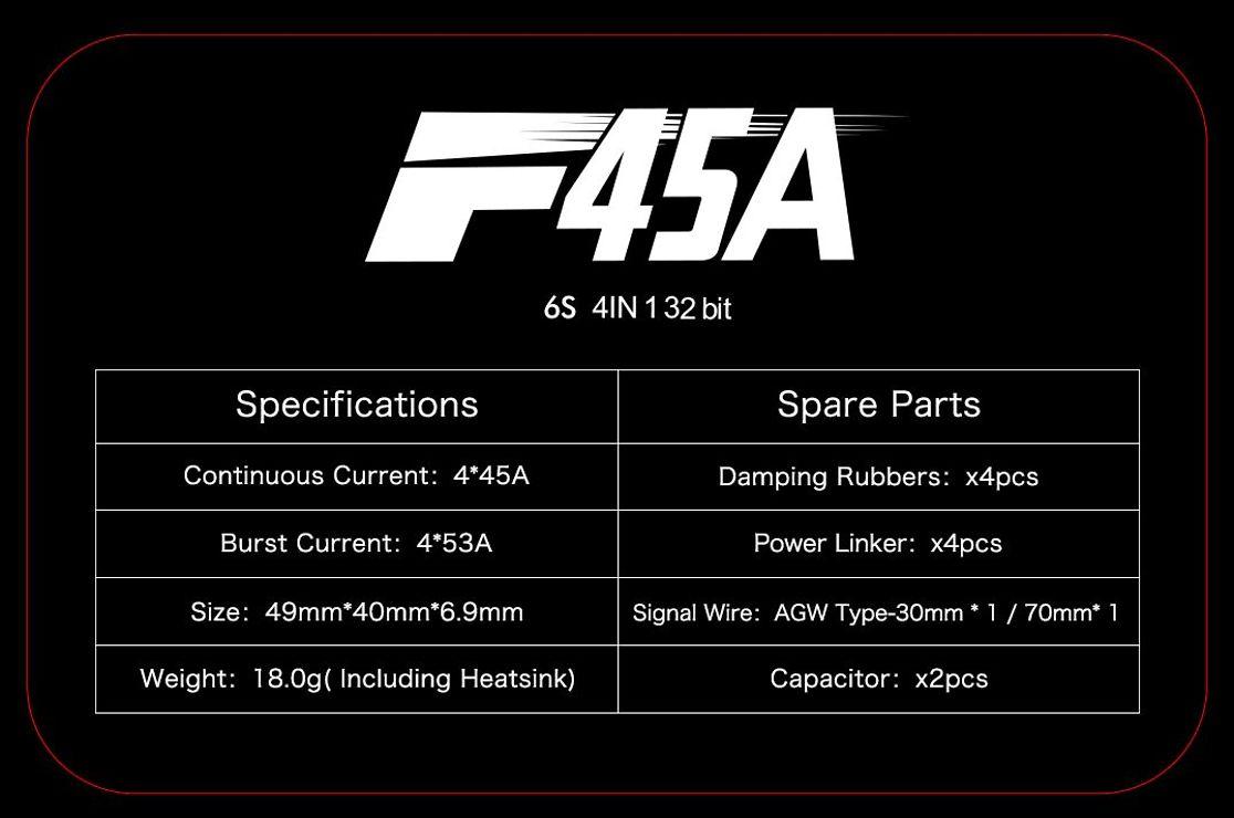 T-Motor F45A 3-6S BLHeli 32 4-in-1 ESC - Pic 4